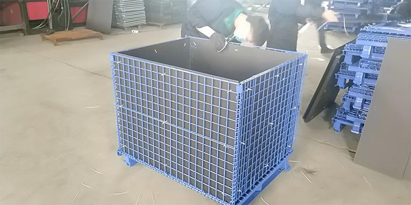 喷塑中空板角铁仓储笼